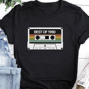 """Tops - """" Best of 1980"""" graphic T-shirt black"""
